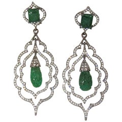29.50 Carat Natural Carved Emeralds Diamonds Dangling Earrings Large Size