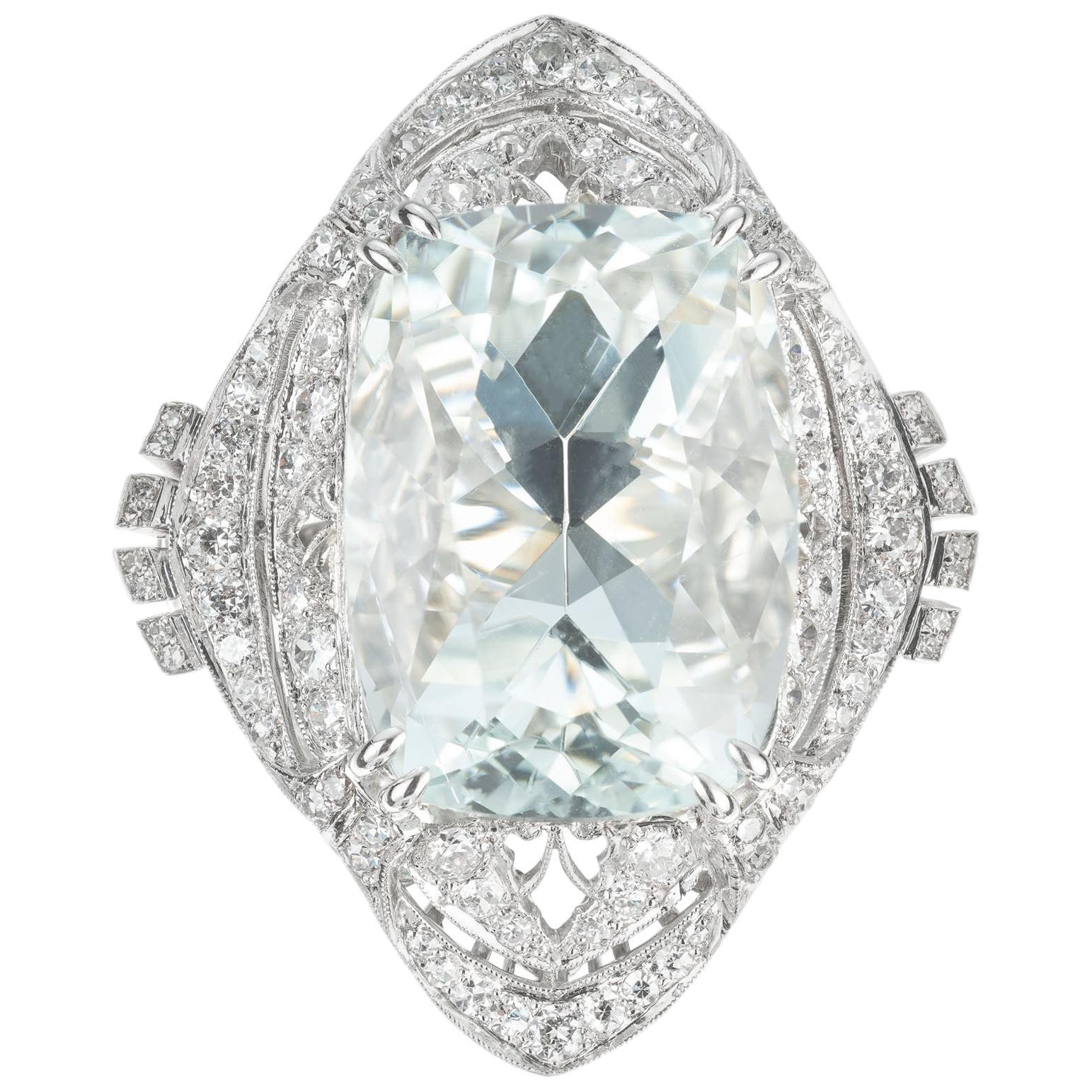 29.34 Carat Pale Blue Aquamarine Diamond Platinum Cocktail Ring