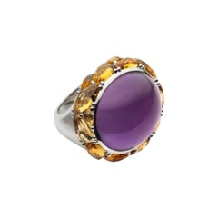 29.53 ct Purple Amethyst Citrine Yellow Sapphire 18 Karat Gold Ring for Her