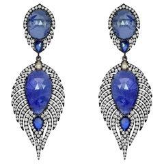 29.57 Carat Tanzanite Blue Sapphire Diamond 18 Karat Gold Feather Earrings