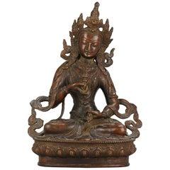Large Sino Tibetan or Nepalese Bronze Bodhisattva Statue 20th Century Buddhist