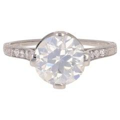 2.96 Carat European Cut Diamond Art Deco Engagement Ring, Platinum GIA Vintage