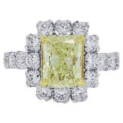 2.96 Carat Fancy Yellow Diamond Engagement Ring