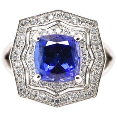 2.96 Carat Natural Tanzanite and Diamond Cocktail Ring Set in Platinum