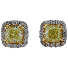 2.96 Carat Total Weight Cushion Cut Natural Fancy Yellow Diamond Stud Earrings