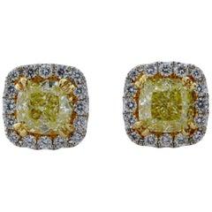 2.96 Carat Total Weight Cushion Cut Natural Fancy Yellow Diamond Stud Earrings
