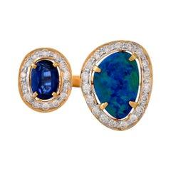 2.96 Carats Australian Blue Opal Kyanite and Diamond 18kt Yellow Gold Ring