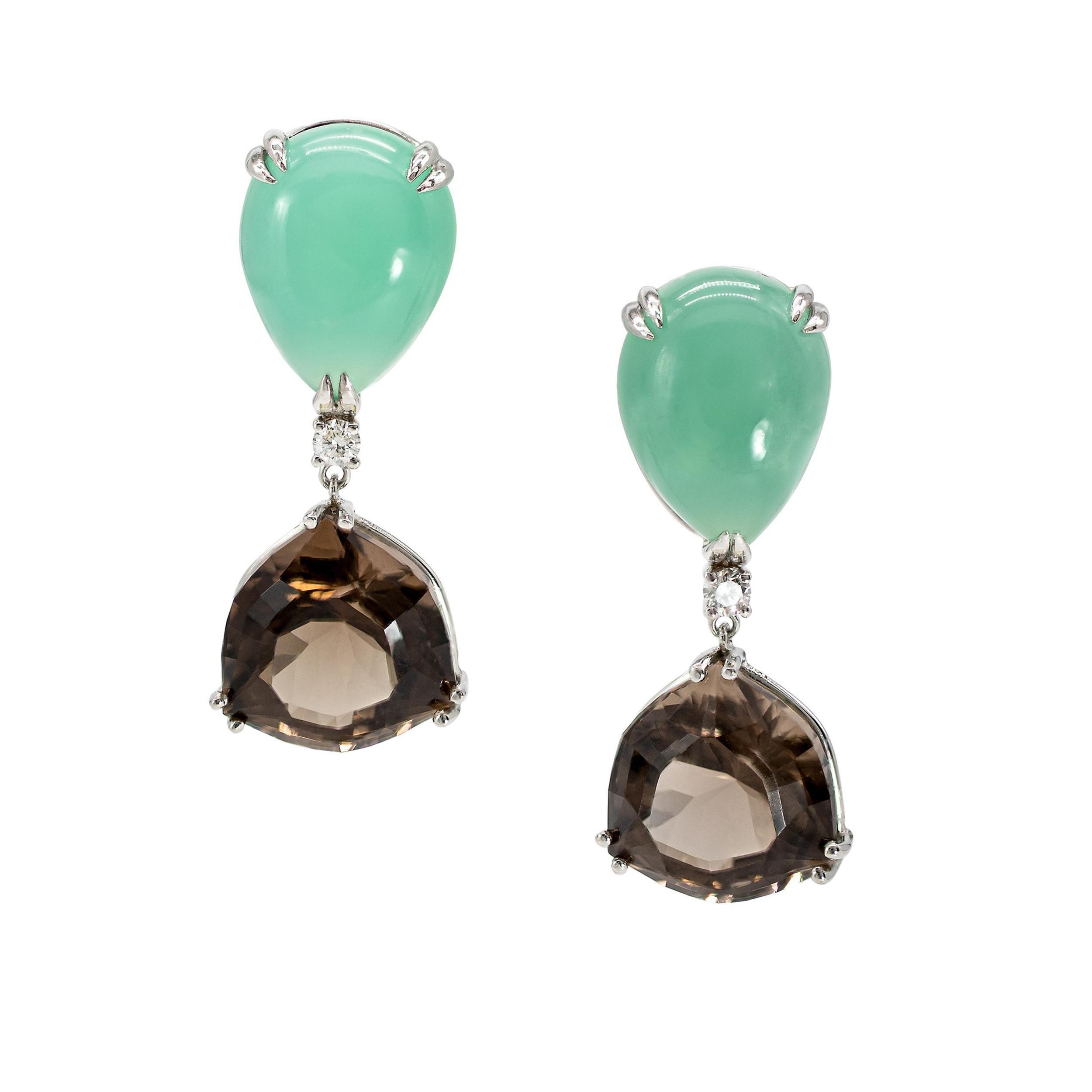 29.60 Carats Chrysoprase, Smoky Quartz, and Diamond Earrings in Platinum