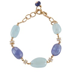 29.66 Carat Aquamarine Tanzanite Diamond 18 Karat Yellow Gold Bracelet