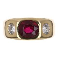 2.96tcw 18K Natural Ruby & Diamond Three Stone Gypsy Ring