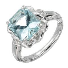 2.97 Carat Aquamarine Diamond Platinum Ring