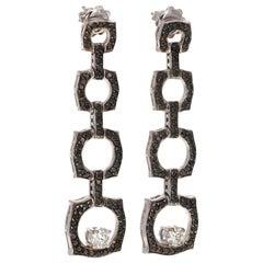 2.97 Carat Black Diamond 14 Karat White Gold Dangle Earrings