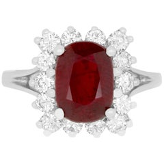 2.97 Carat Cushion Cut Ruby and 0.82 Carat Diamond Ring