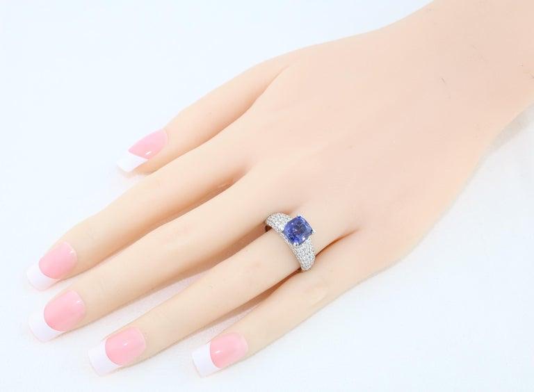Contemporary 2.97 Carat Cushion Tanzanite Diamond Gold Pave Ring For Sale