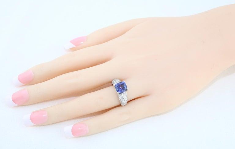 Cushion Cut 2.97 Carat Cushion Tanzanite Diamond Gold Pave Ring For Sale