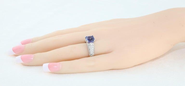 Women's 2.97 Carat Cushion Tanzanite Diamond Gold Pave Ring For Sale