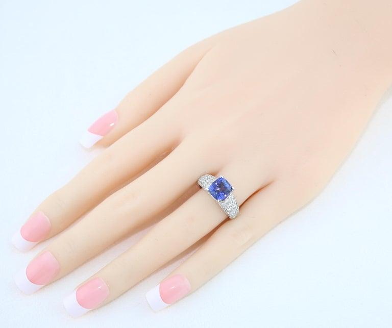 2.97 Carat Cushion Tanzanite Diamond Gold Pave Ring For Sale 1