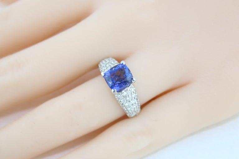 2.97 Carat Cushion Tanzanite Diamond Gold Pave Ring For Sale 2