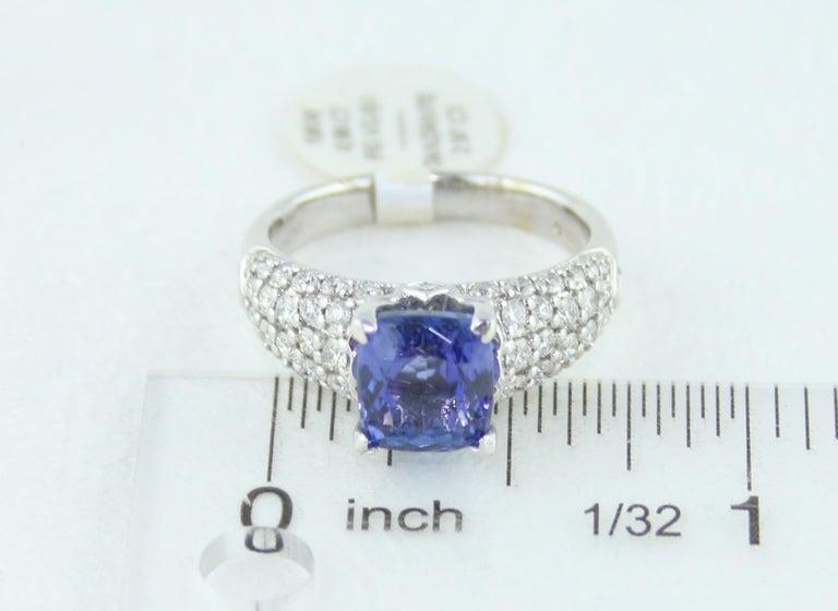 2.97 Carat Cushion Tanzanite Diamond Gold Pave Ring For Sale 3