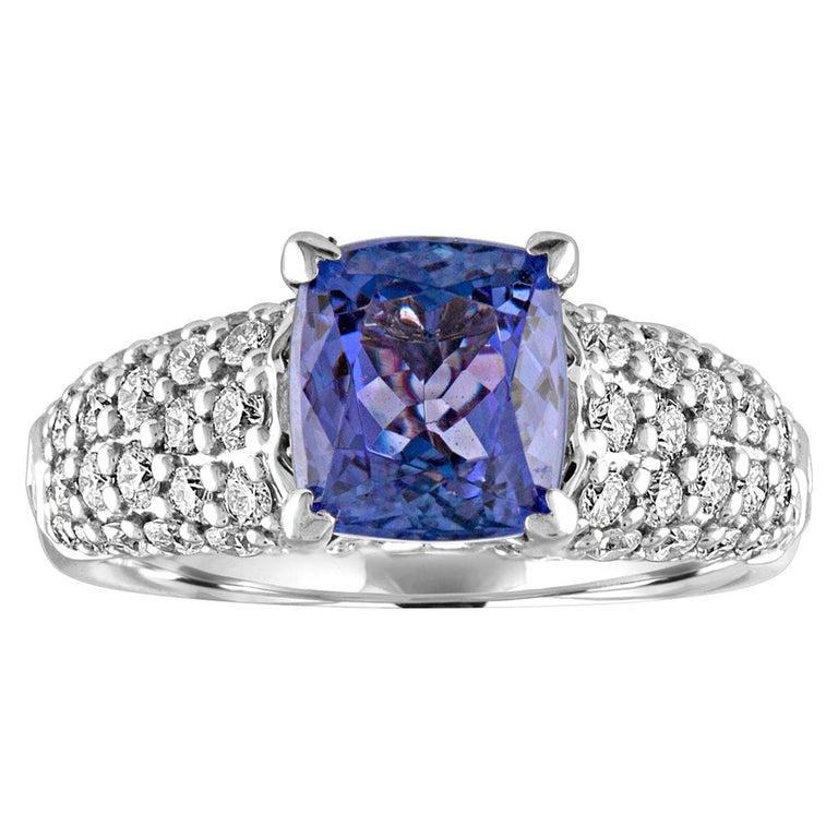 2.97 Carat Cushion Tanzanite Diamond Gold Pave Ring For Sale