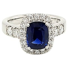 2.97 Carat GRS Certified Royal Blue Sapphire and Diamond Engagement Ring