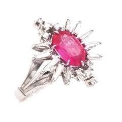 2.97 Carat No Heat Pink Sapphire Diamond White Gold Ring
