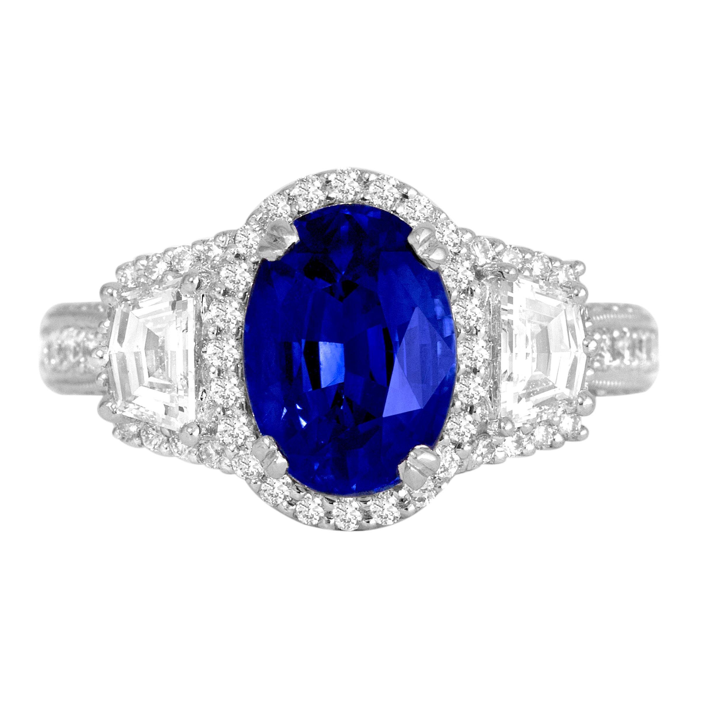 DiamondTown 2.97 Carat Oval Cut Ceylon Sapphire and Diamond Ring