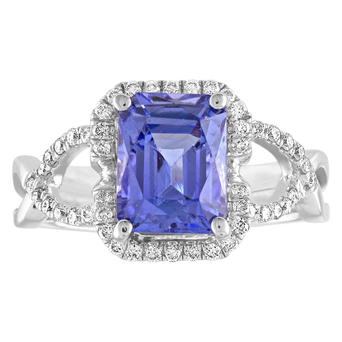 2.97 Carat Radiant Cut Tanzanite Diamond Gold Ring