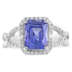 2.97 Carat Radiant Cut Tanzanite Diamond Gold Ring