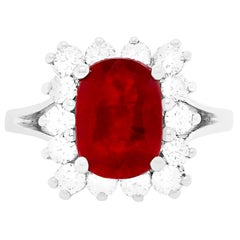 2.97 Carat Ruby and Diamond Engagement Ring