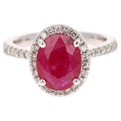 2.97 Carat Ruby Diamond 14 Karat White Gold Ring