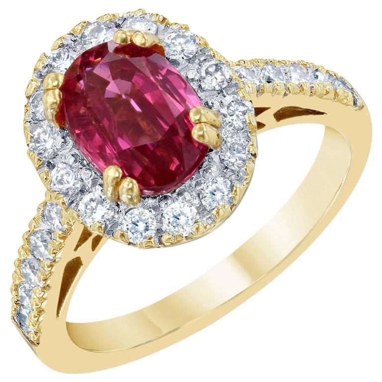 2.97 Carat Spinel Diamond 18 Karat Yellow Gold Engagement Ring