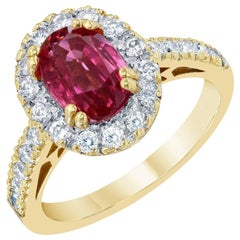 2.97 Carat Spinel Diamond 18 Karat Yellow Gold Engagement Ring