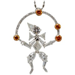 2.97 Carat White And Brown Diamond Juggling Clown Necklace In Platinum.