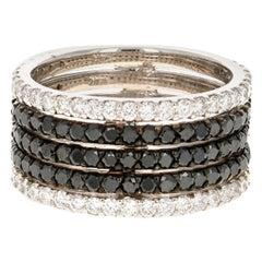 2.98 Carat Black and White Diamond 14 Karat Cocktail Ring