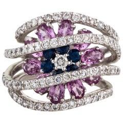 2.98 Carat Diamond and Sapphire 1.66 Carat 18 Karat White Gold Cocktail Ring