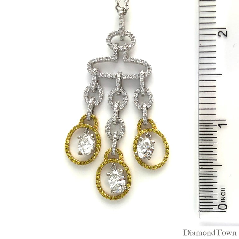 Pear Cut 2.98 Carat Diamond and Yellow Diamond Drop Pendant in White and Yellow Gold For Sale