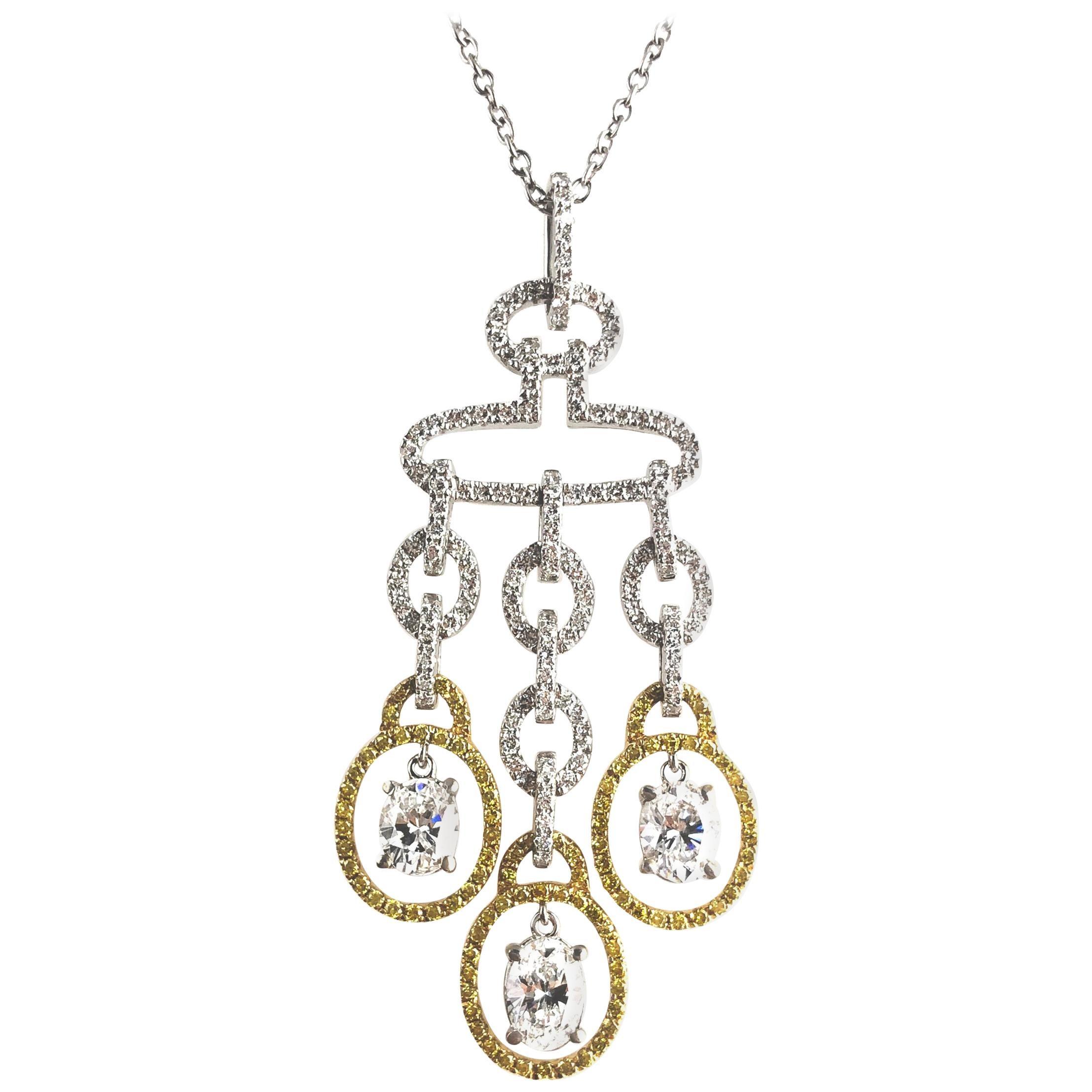 DiamondTown 2.98 Carat Diamond and Yellow Diamond Drop Pendant