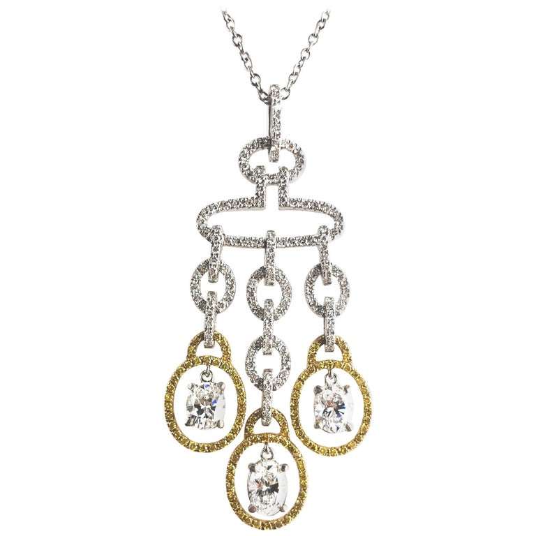 2.98 Carat Diamond and Yellow Diamond Drop Pendant in White and Yellow Gold For Sale