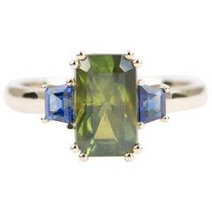 2.98 Carat Green Sapphire Ring 14 Karat Yellow Gold Statement OOAK AD1749-30
