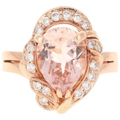 2.98 Carat Morganite Diamond 14 Karat Rose Gold Cocktail Ring