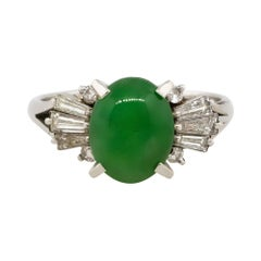 2.98 Carat Oval Jade Center Diamond Cocktail Ring Platinum in Stock