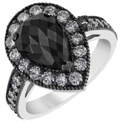 2.98 Carat Pear Cut Black Diamond 14 Karat White Gold Engagement Ring