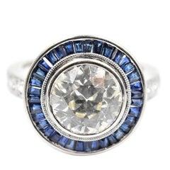 2.98 Carat Round European Diamond with Sapphire Halo Ring 18 Karat White Gold