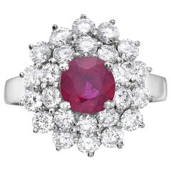 2.98 Carat Ruby and Diamond Cocktail Ring