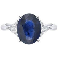 2.98 Carat Sri Lanka Sapphire Non Heated Diamond Ring Oval Cut