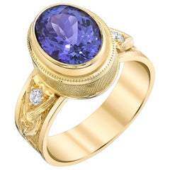 2.98 Carat Tanzanite and Diamonds 18 Karat Yellow Gold Ring