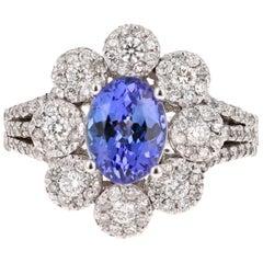 2.98 Carat Tanzanite Diamond 14 Karat White Gold Ring