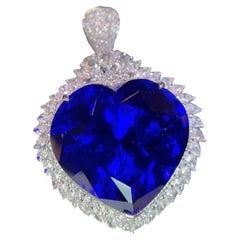 29.8 Carat Tanzanite Diamond Pendant 'Duel use as ring' 18 Karat White Gold