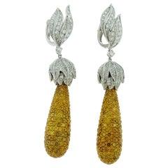 29.86 Carat White and Yellow Diamond 18 Karat White Gold Drop Earrings